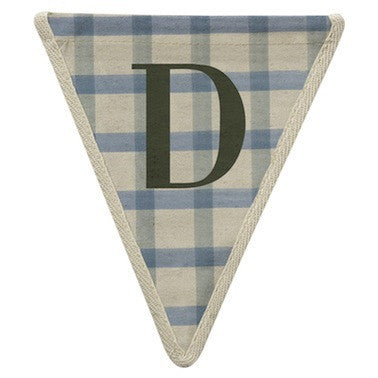 Letter D - plaid blue