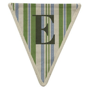 Letter E - striped blue & green