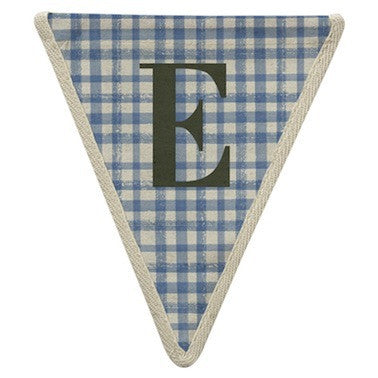 Letter E - plaid pattern blue