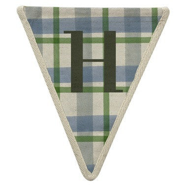 Letter H - plaid blue & green