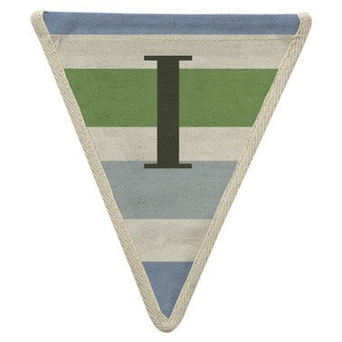 Letter I - horizontal striped blue & green