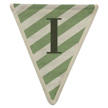 Letter I - diagonal stripe green