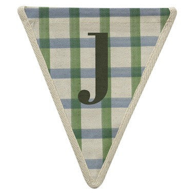 Letter J - plaid blue & green