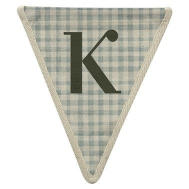 Letter K - gingham pattern blue
