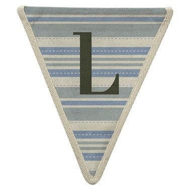 Letter L - horizontal blue striped