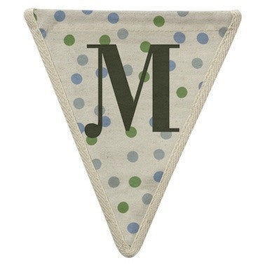 Letter M - polka dots blue & green