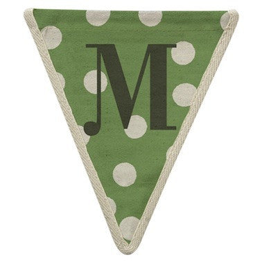 Letter M - polka dots green