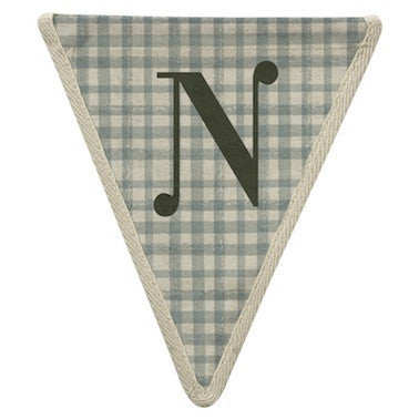 Letter N - gingham pattern blue