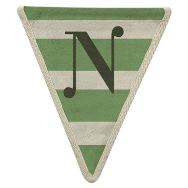 Letter N - horizontal stripe green