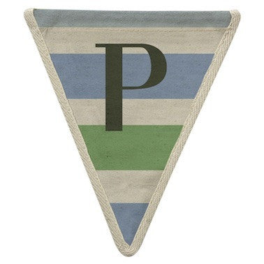 Letter P - horizontal stripe blue & green