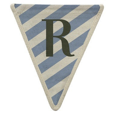 Letter R - diagonal stripe blue