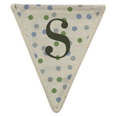 Letter S - polka dots blue & green