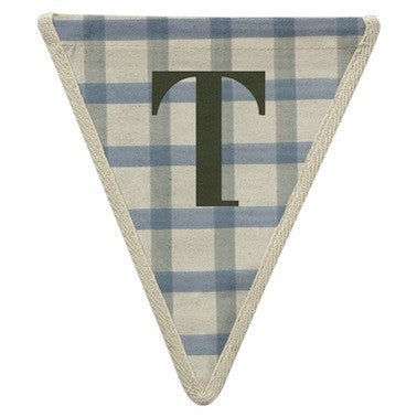 Letter T - gingham pattern blue