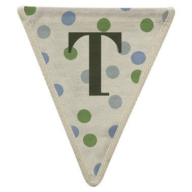 Letter T - polka dots blue & green