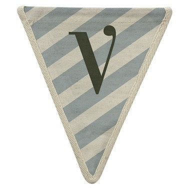 Letter V - diagonal stripe blue