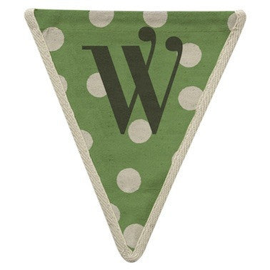 Letter W - polka dot green