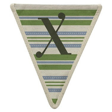 Letter X - horizontal stripe green & blue