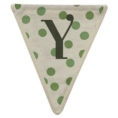 Letter Y - polka dots green