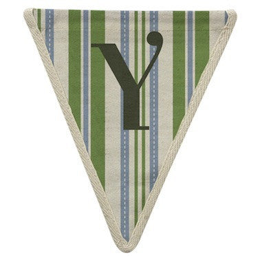 Letter Y - striped blue & green