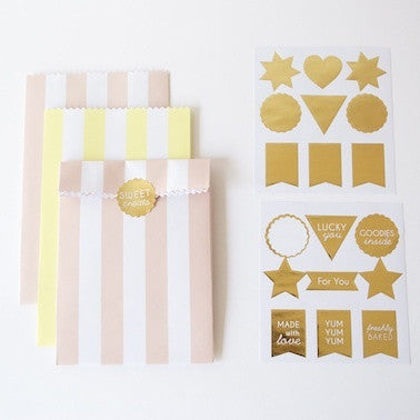 Pink & Yellow Stripe Gift Bags