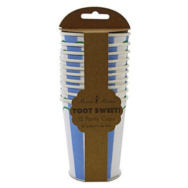 Toot Sweet Blue Stripe Paper Cups