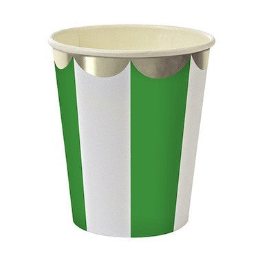 Green Stripe Paper Cups