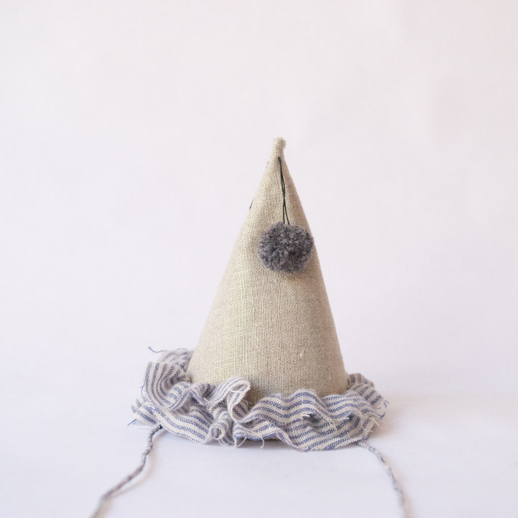 Petit Party Hat - Blue Ticking Stripe