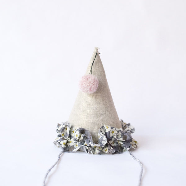 Petit Party Hat - Grey Floral