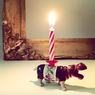 Hippo Glittery Candle Holder