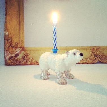 Baby Polar Bear Glittery Candle Holder