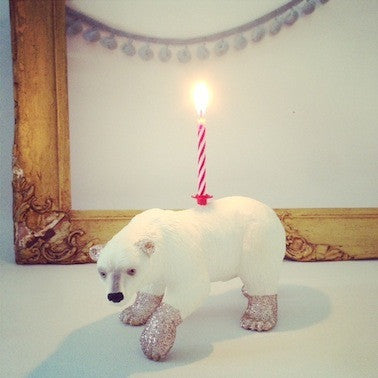 Polar Bear Glittery Candle Holder