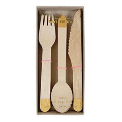 Wooden Cutlery Set - Gold