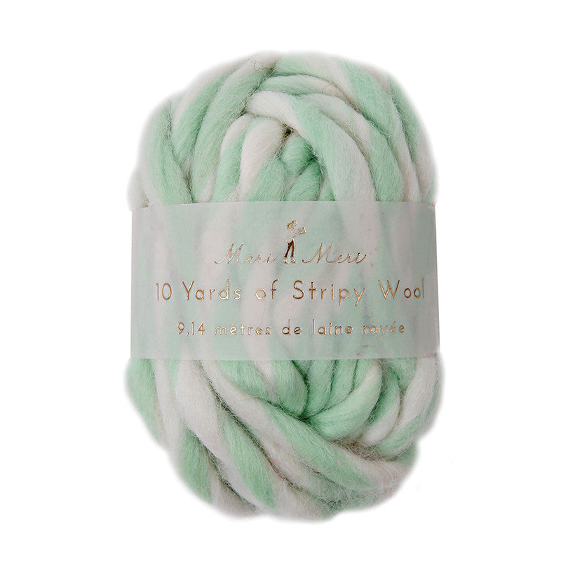 Stripy Wool - White & Mint