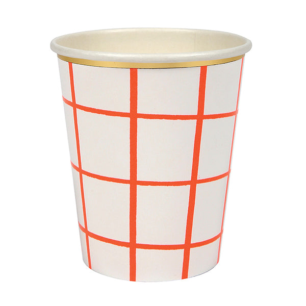 Coral Grid Paper Cups