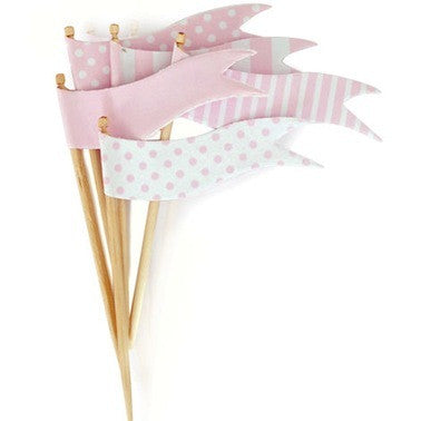 Marshmallow Pink Flags Toppers