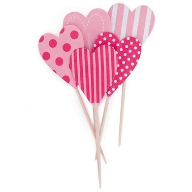 Pink Hearts Cupcake Toppers