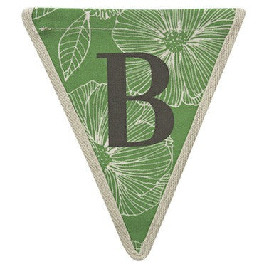 Letter B - floral pattern green