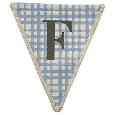 Letter F - plaid blue