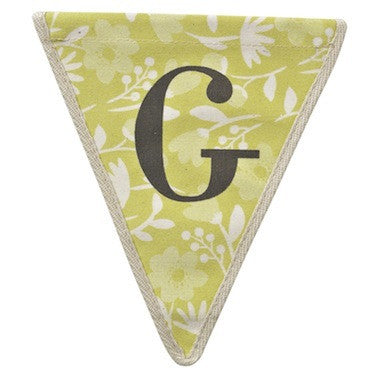 Letter G - floral pattern yellow