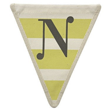 Letter N - horizontal stripe yellow