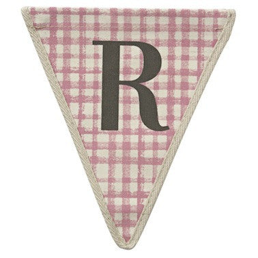 Letter R - plaid pattern pink