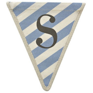 Letter S - diagonal stripe blue