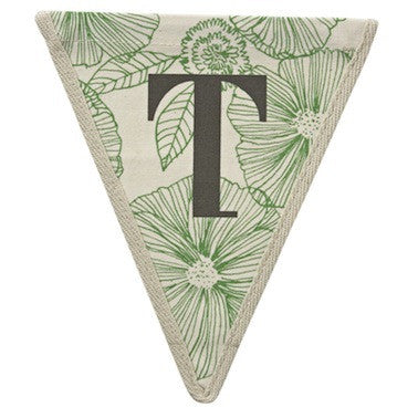 Letter T - floral pattern green