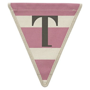 Letter T - horizontal stripe pink