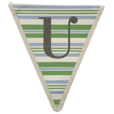 Letter U - horizontal stripe blue & green