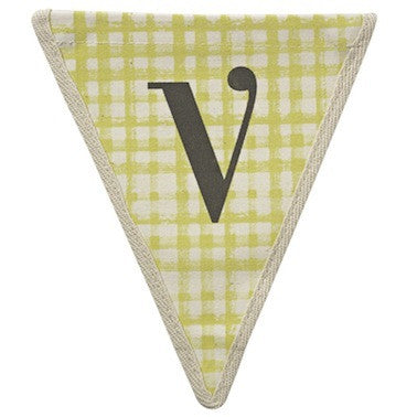 Letter V - gingham pattern yellow
