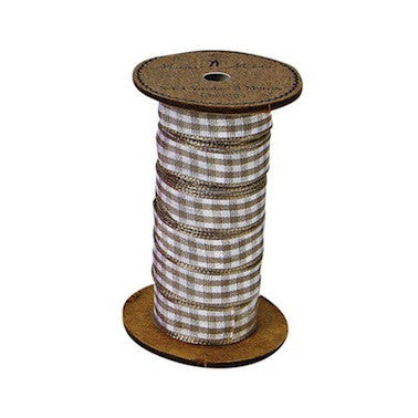 Ribbon Spool Brown Gingham