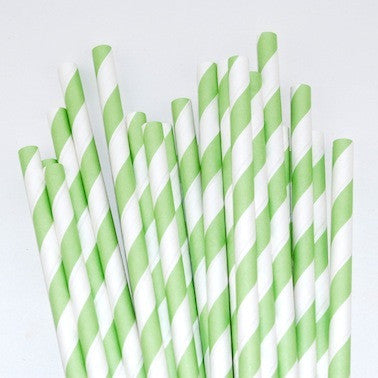 Paper Straws - Green Stripes