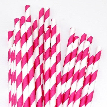 Paper Straws - Hot Pink Stripes