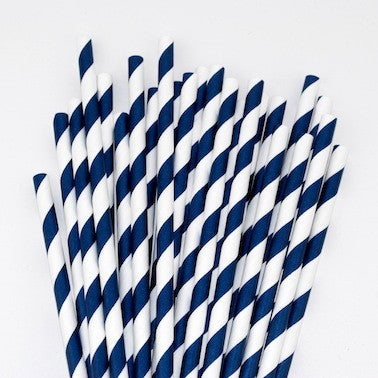 Paper Straws - Navy Blue Stripes